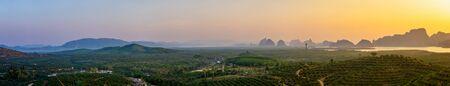 Panorama sunrise at the mountain and sea - Samed Nang Nee, Phang Nga Province, Thailand