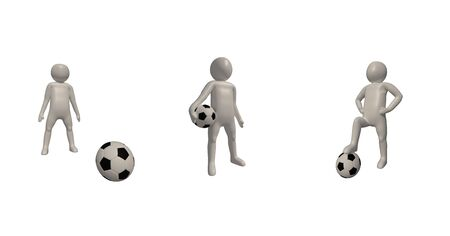 3d illustrator Footballer symbol on white background, 3d rendering of the playing football. Includes selection path. Zdjęcie Seryjne - 134741856