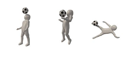 3d illustrator Footballer symbol on white background, 3d rendering of the playing football. Includes selection path. Zdjęcie Seryjne - 134741857