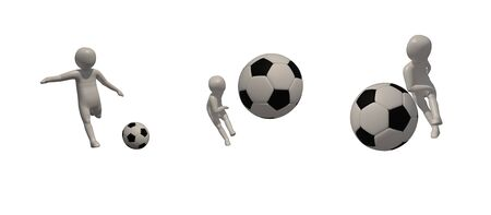 3d illustrator Footballer symbol on white background, 3d rendering of the playing football. Includes selection path.