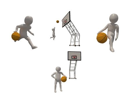 3d illustrator basketball symbol on white background, 3d rendering of the playing basketball. Includes selection path.
