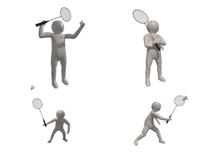 3d illustrator badminton symbol on white background, 3d rendering of the playing badminton. Includes selection path.