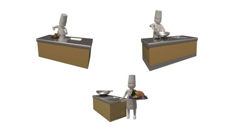 3d illustrator, 3d rendering, The chef symbol on a white background shows a 3D image of cooking, bakery