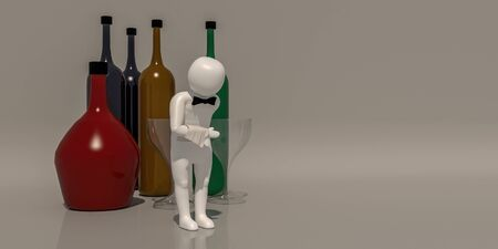 3d illustrator group of career symbols on a gray background, 3d rendering of the Waiter at restaurant. Includes a selection path.