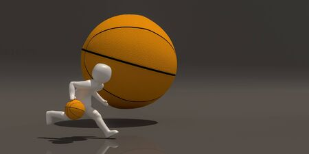 3d illustrator group of Sports symbols on a gray background, 3d rendering of the playing basketball. Includes a selection path.