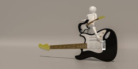 3d illustrator group of career musician symbols on a gray background, 3d rendering of the Music player. Includes a selection path. Banque d'images - 138388080