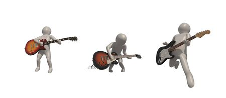 3d illustrator group of career musician symbols on a gray background, 3d rendering of the Music player. Includes a selection path. Banque d'images - 138388085