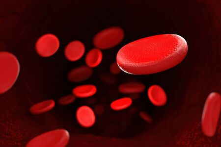 3d rendering of erythrocyte or red blood corpuscle. 3d illustration of Red blood cells.