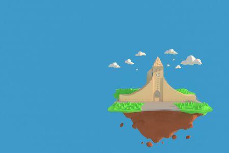 3D illustrator  Hallgrimskirkja in Iceland. 3d rendering Low Polygon Geometry Background. Abstract Polygonal Geometric Shape. Lowpoly Minimal Style Art. 免版税图像
