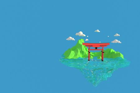 3D illustrator   Shinto shrine on the island of Itsukushima in Japan. 3d rendering Low Polygon Geometry Background. Abstract Polygonal Geometric Shape. Lowpoly Minimal Style Art. 免版税图像
