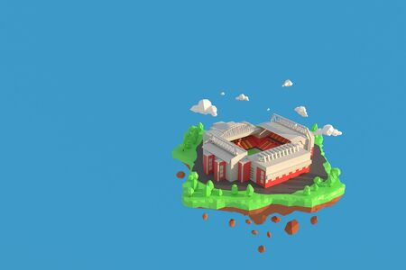 3D illustrator football stadium in Anfield, Liverpool, England. 3d rendering Low Polygon Geometry Background. Abstract Polygonal Geometric Shape. Lowpoly Minimal Style Art. 免版税图像