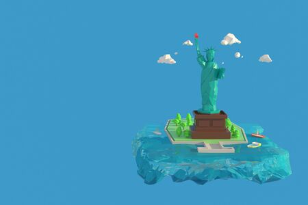 3D illustrator Statue of Liberty or Liberty Enlightening the World in New York, USA. 3d rendering Low Polygon Geometry Background. Abstract Polygonal Geometric Shape. Lowpoly Minimal Style Art.