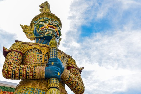 Thai giant statue in Temple at Bangkok, Thailand.