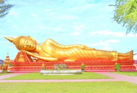 far eastern: Reclining Buddha images in laos
