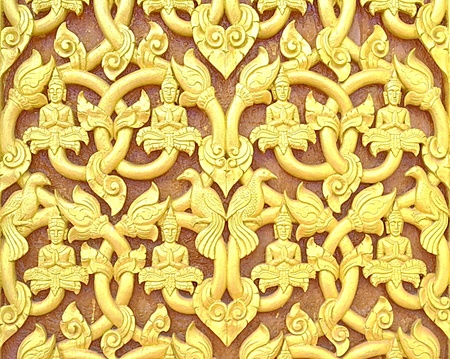 Pattern of Laos,Wood carving art  photo