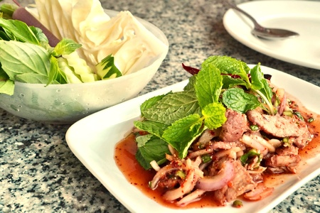 Spicy pork-Lao food,Minced pork photo