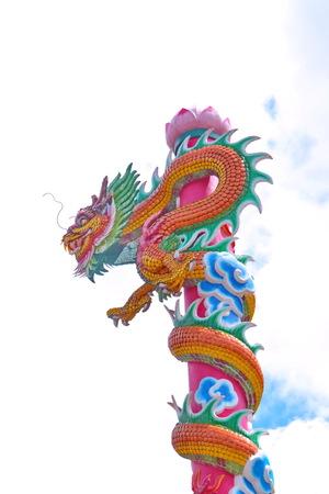conveys: Dragon, Poles move towards a pan dragon sculpture sky  Symbol of faith that conveys power, fortune and faith