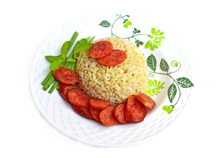 Fried rice with Chinese sausage photo