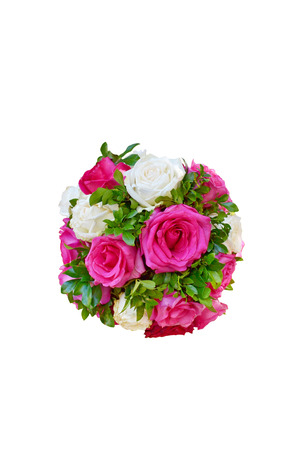 bouquet of roses  Green bouquet with roses and leaves isolated on white photo