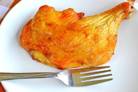 Smoked chicken leg quarter photo