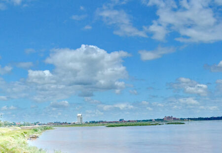 summer time: River Landscape and Blue Sky with White Clouds. Summer Time Stock Photo
