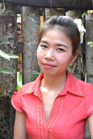 traditional clothing: young woman in traditional clothing from Laos