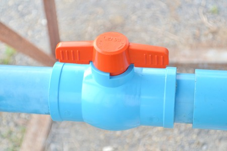waterspout: Open water supply valves Stock Photo