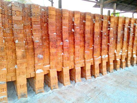 Stack of clay bricks