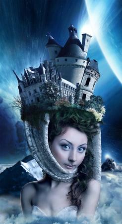 belle fille dans le clair de lune avec un verrou sur la tête
