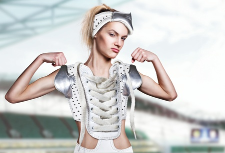 exercitation: girl athlete in sports clothes for a new sport