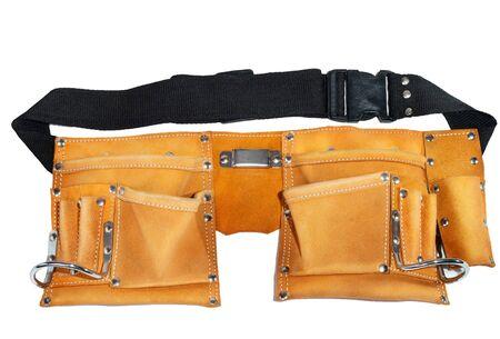suede belt: Cintur�n para herramientas sobre un fondo blanco Foto de archivo