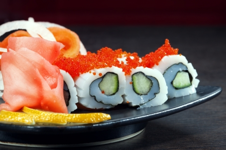 sushi plate: set of Japanese sushi on a plate Stock Photo