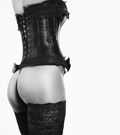 erotico: chica sexy en cors�s y medias Foto de archivo