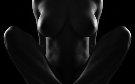 contours of the female body on a dark background