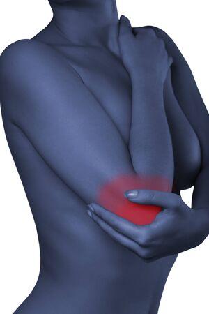 codo: Un hombre con su codo. Dolor en el joint.Pain codo.