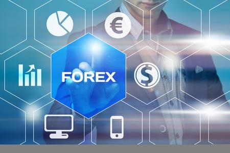 equidad: negocio, la tecnología y el concepto de Internet - empresario botón de divisas presionando en pantallas virtuales
