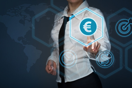 Business woman offer Euro represented by euro sign.