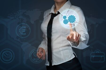 reengineering: business, technology and internet concept - business woman pressing forex button on virtual screens