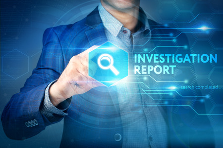 Business, internet, technology concept.Businessman chooses Investigation Report button on a touch screen interface. Stock Photo