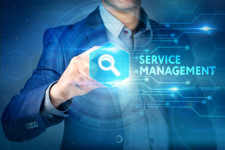 webserver: Business, internet, technology concept.Businessman chooses Service Management button on a touch screen interface. Stock Photo