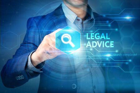 防衛: Business, internet, technology concept.Businessman chooses Legal Advice button on a touch screen interface.