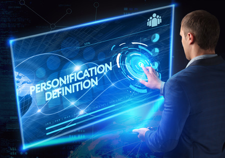 personification: Business, Technology, Internet and network concept. Technology future. Young businessman, working on the smartphone of the future, clicks on the virtual display button: Personification Definition