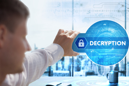 decryption: Business, Technology, Internet and network concept. Young businessman looks on a tablet, smart phone of the future. He sees the inscription: Decryption Stock Photo