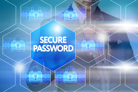 cyber defence: Business, technology, internet and networking concept. Businessman presses a button on the virtual screen: Security password Stock Photo