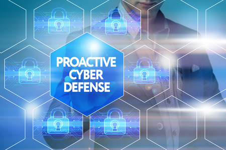 proactive: Business, technology, internet and networking concept. Businessman presses a button on the virtual screen: Proactive cyber defense