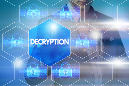 cyber defence: Business, technology, internet and networking concept. Businessman presses a button on the virtual screen: Decryption Stock Photo
