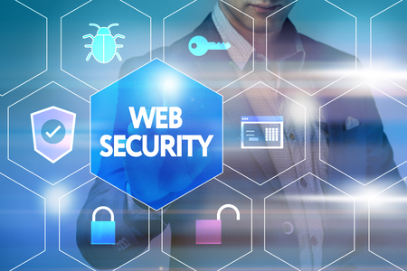 web security: Business, technology, internet and networking concept. Businessman presses a button on the virtual screen: Web security