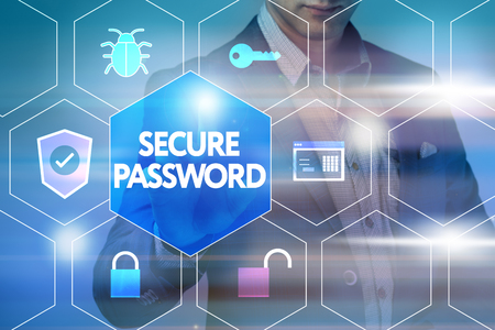 security technology: Business, technology, internet and networking concept. Businessman presses a button on the virtual screen: Security password Stock Photo