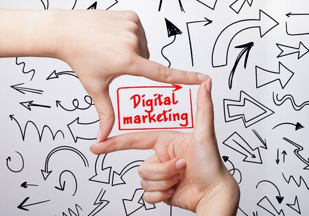 adwords: Technology, internet, business and marketing. Young business woman writing word: digital marketing Stock Photo
