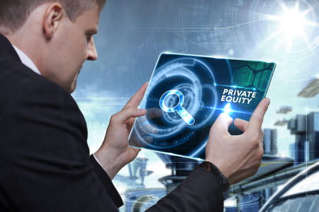 Business, Technology, Internet and network concept. Businessman working on the tablet of the future, select on the virtual display: Private equity Stockfoto